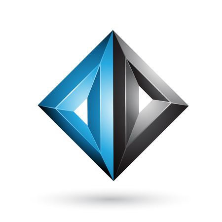 Vector Illustration of Blue and Black 3d Geometrical Embossed Triangle Diamond Shape isolated on a White Background