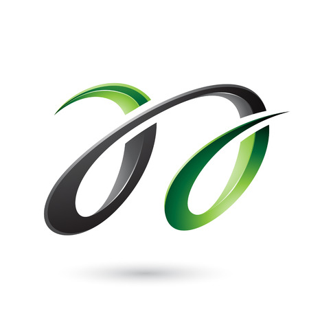 Vector Illustration of Green and Black Glossy Dual Letters A isolated on a White Background