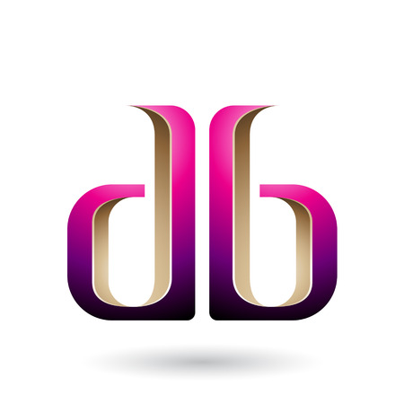 Vector Illustration of Beige and Magenta Double Sided D and B Letters isolated on a White Background Vectores