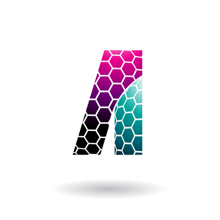 Vector Illustration of Magenta and Green Letter A with Honeycomb Pattern isolated on a White Background