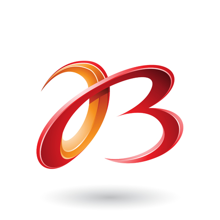 Vector Illustration of Red and Orange 3d Curly Letters A and B isolated on a White Background Stock fotó - 111892894