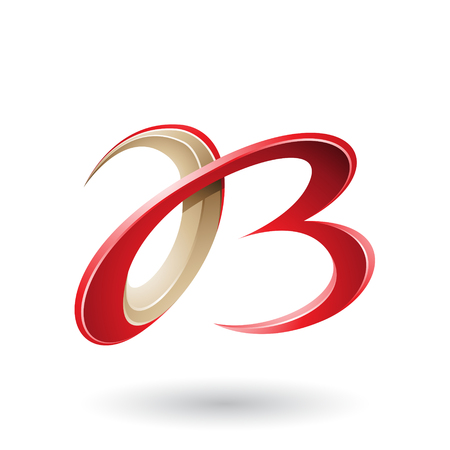 Vector Illustration of Red and Beige 3d Curly Letters A and B isolated on a White Background Stock fotó - 111892895