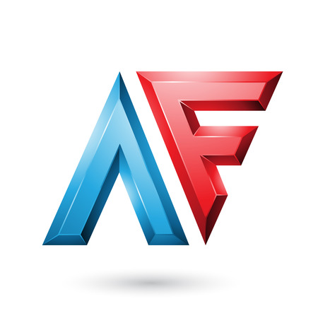 Vector Illustration of Red and Blue Glossy Dual Letters of Letters A and F isolated on a White Background