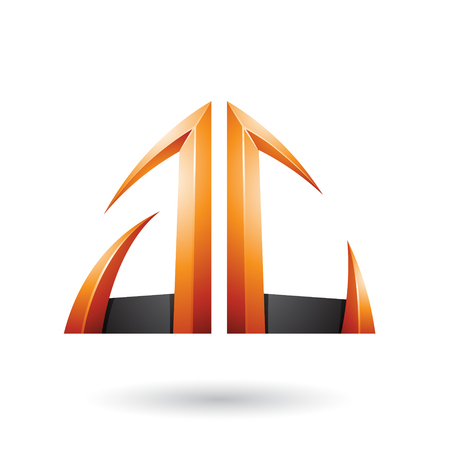 Vector Illustration of Orange and Black Arrow Shaped A and C Letters isolated on a White Background