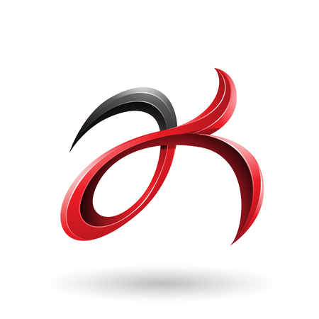 Vector Illustration of Black and Red Curly Fish Tail Like Letters A and K isolated on a White Background