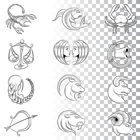 Ilustracja wektorowa ręcznie rysowane szkice znaków zodiaku na białym tle na białym tle