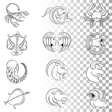 Vector Illustration of Hand Drawn Zodiac Signs Sketches isolated on a White Background