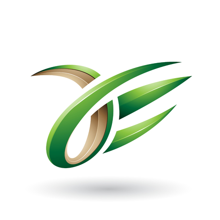 Vector Illustration of Beige and Green 3d Claw Shaped Letter A and E isolated on a White Background Stock fotó - 111893190