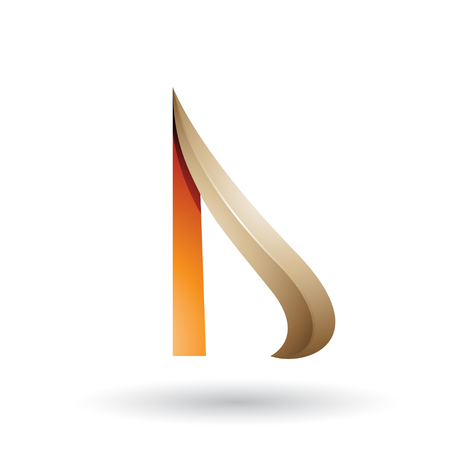 Vector Illustration of Beige and Orange Embossed Arrow-like Letter D isolated on a White Background Illustration