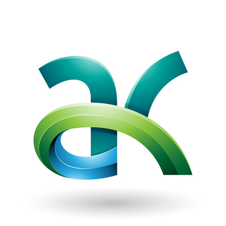 Vector Illustration of Green and Blue 3d Bold Curvy Letter A and K isolated on a White Background Illusztráció