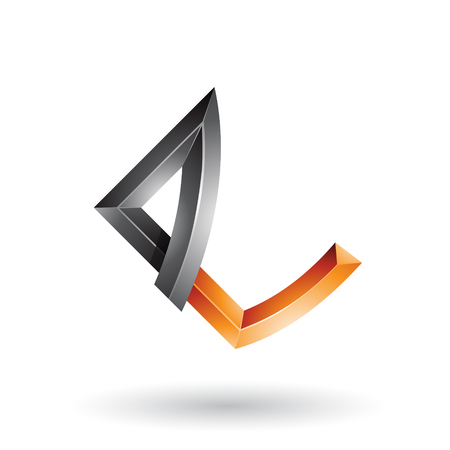 Vector Illustration of Black and Orange Embossed Letter E with Bended Joints isolated on a White Background Ilustração