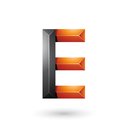 Vector Illustration of Black and Orange Pyramid Like Geometrical Letter E isolated on a White Background