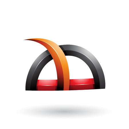 Vector Illustration of Black and Orange Glossy Grass Like Spiky Shape isolated on a White Background
