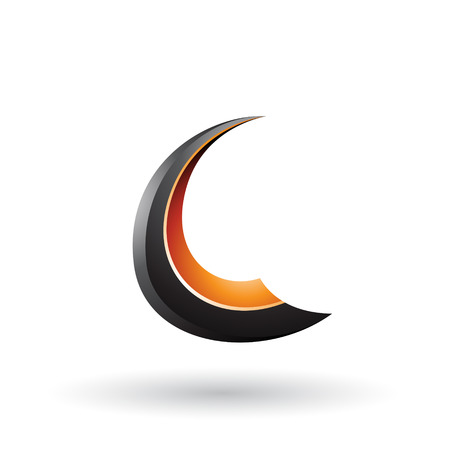 Vector Illustration of Black and Orange Glossy Flying Letter C isolated on a White Background