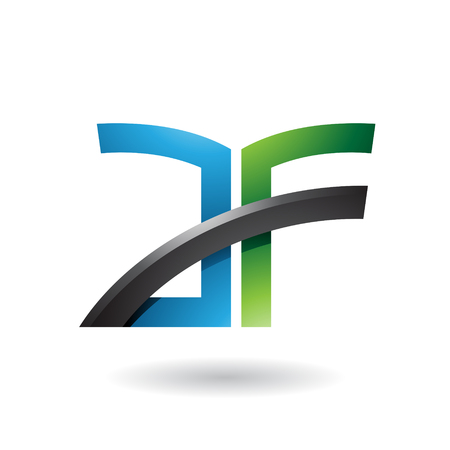Vector Illustration of Blue and Green Dual Letter Icon of A and F isolated on a White Background Illusztráció