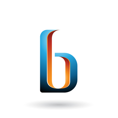 Vector Illustration of Orange and Blue Shaded Letter B isolated on a White Background Stock fotó - 111892779
