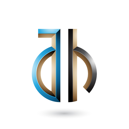 Vector Illustration of Blue and Black Key-like Symbol of Letters A and H isolated on a White Background Stock fotó - 111892743
