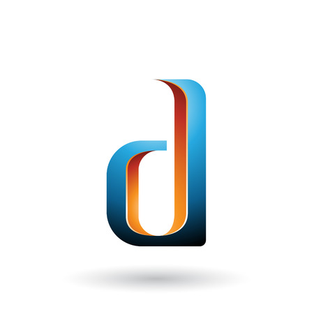 Vector Illustration of Orange and Blue Shaded Letter D isolated on a White Background