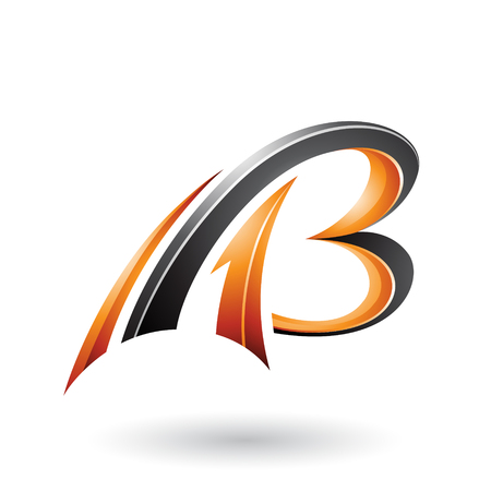 Vector Illustration of Orange and Black Flying Dynamic 3d Letters A and B isolated on a White Background