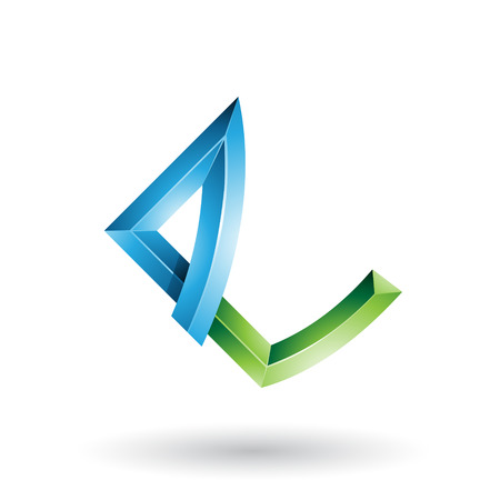 Vector Illustration of Blue and Green Embossed Letter E with Bended Joints isolated on a White Background