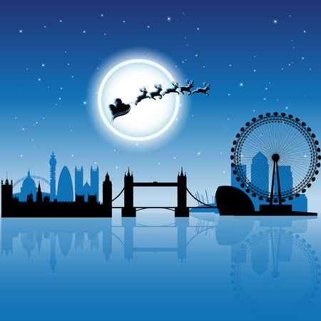 Vector Illustration of Santa in London over Blue Night Sky