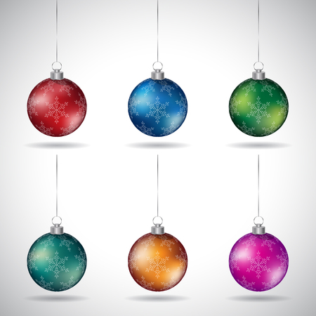 Vector Illustration of Christmas Balls with Snowflake Design and Silver String - Style 3 isolated on a White Background