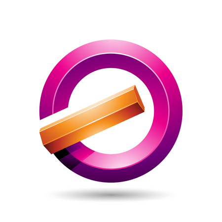 Vector Illustration of Orange and Magenta Round Glossy Reversed Letter G or A Icon