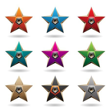 Vector Illustration of Colorful Embossed Stars with Pentagon Loudspeaker Shapes isolated on a White Background 向量圖像