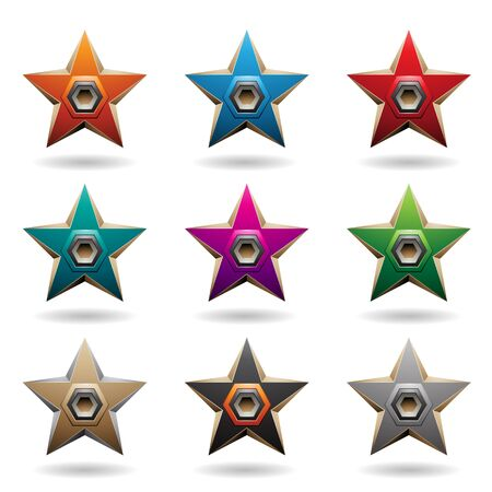 Vector Illustration of Colorful Embossed Stars with Hexagon Loudspeaker Shapes isolated on a White Background