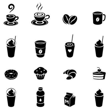Vector Illustration of Black Coffee and Breakfast Icons on a White Background Ilustração