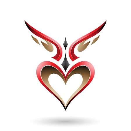 Vector Illustration of Red Bird Like Winged Heart with a Shadow isolated on a white background Stock Illustratie