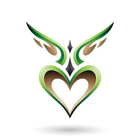 Vector Illustration of Green Bird Like Winged Heart with a Shadow isolated on a white background Stock Illustratie