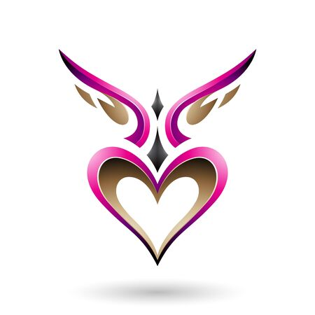 Vector Illustration of Magenta Bird Like Winged Heart with a Shadow isolated on a white background Çizim