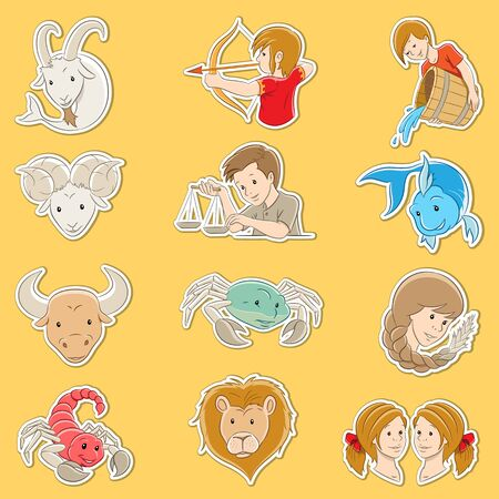 Vector Illustration of Sticker Designs of Cartoon Zodiac Signs