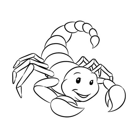 Vector Illustration of Black Line Art of Scorpio Zodiac Sign isolated on a white background Illustration