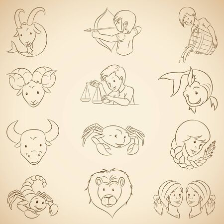 Vector Illustration of Brown Line Art Zodiac Signs on a Beige Background