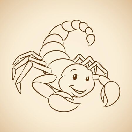 Vector Illustration of Brown Line Art of Scorpio Zodiac Sign on a Beige Background Ilustração