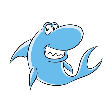 Vector Illustration of Cartoon Shark isolated on a white background