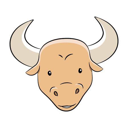 Vector Illustration of Cartoon of Taurus Zodiac Sign isolated on a white background Çizim