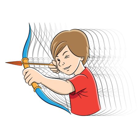 Vector Illustration of Archer Boy Cartoon with Motion Ghosting isolated on a white background