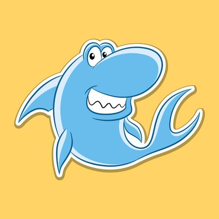 Vector Illustration of Sticker of Shark Cartoon on a Yellow Background