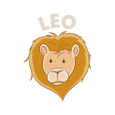 Vector Illustration of Colorful Cartoon of Leo Zodiac Sign isolated on a white background 일러스트