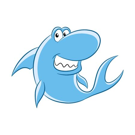 Vector Illustration of Colorful Cartoon Shark isolated on a white background Иллюстрация