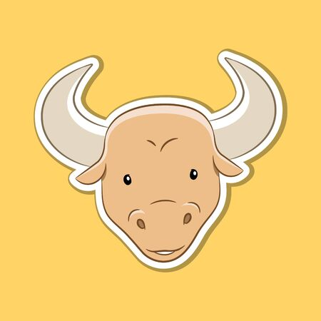 Vector Illustration of Sticker of Taurus Zodiac Sign isolated on a Yellow background
