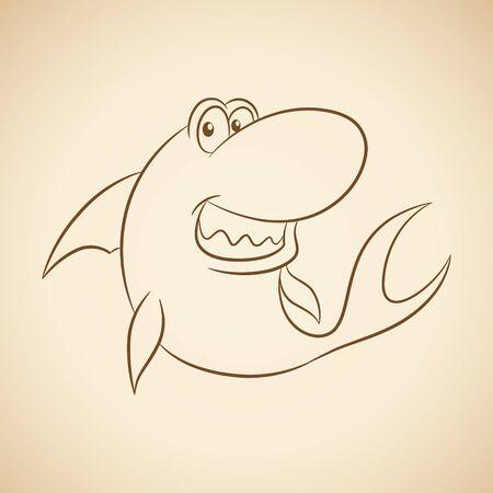 Vector Illustration of Brown Line Art Shark Cartoon on a Beige Background Иллюстрация