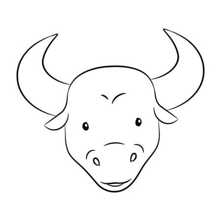 Vector Illustration of Black Line Art of Taurus Zodiac Sign isolated on a white background Çizim