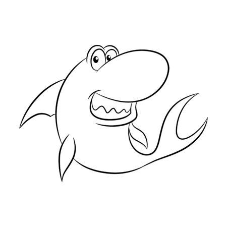 Vector Illustration of Black Line Art Shark Cartoon on a White Background Иллюстрация