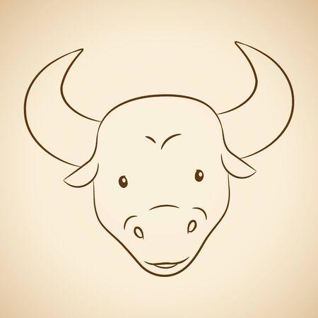 Vector Illustration of Brown Line Art of Taurus Zodiac Sign on a Beige Background Çizim