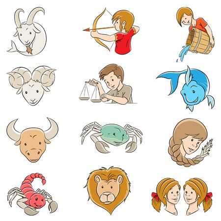 Vector Illustration of Cartoon Zodiac Signs isolated on a White Background  イラスト・ベクター素材
