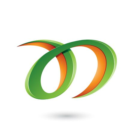 Illustration of Green and Orange Curvy Letter A and D isolated on a White Background